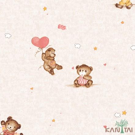 Papel de Parede Infantil Vinílico Kan Tai Coleção Hello Kids Ursos Bege claro, Marrom, Vermelho