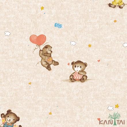 Papel de Parede Infantil Vinílico Kan Tai Coleção Hello Kids Ursos Bege, Marrom, Vermelho