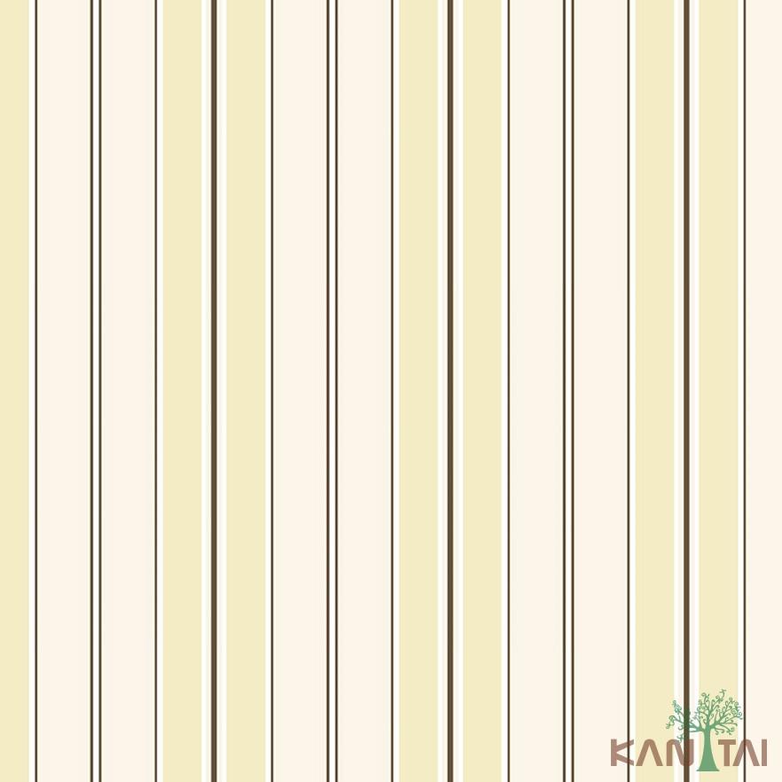 Papel de Parede Infantil Vinílico Kan Tai Coleção Hello Kids Listrado Amarelo, Marrom, Branco