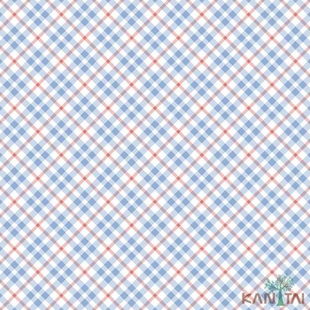 Papel de Parede Infantil Vinílico Kan Tai Coleção Hello Kids Geométrico Xadrez Off white, Vermelho, Azul