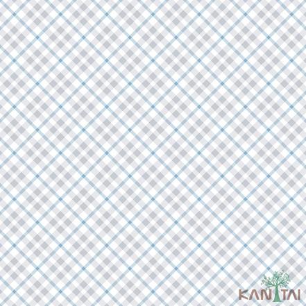 Papel de Parede Infantil Vinílico Kan Tai Coleção Hello Kids Geométrico Xadrez Off white, Azul, Cinza