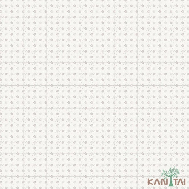 Papel de Parede Infantil Vinílico Kan Tai Coleção Hello Kids Floral Off white, Cinza