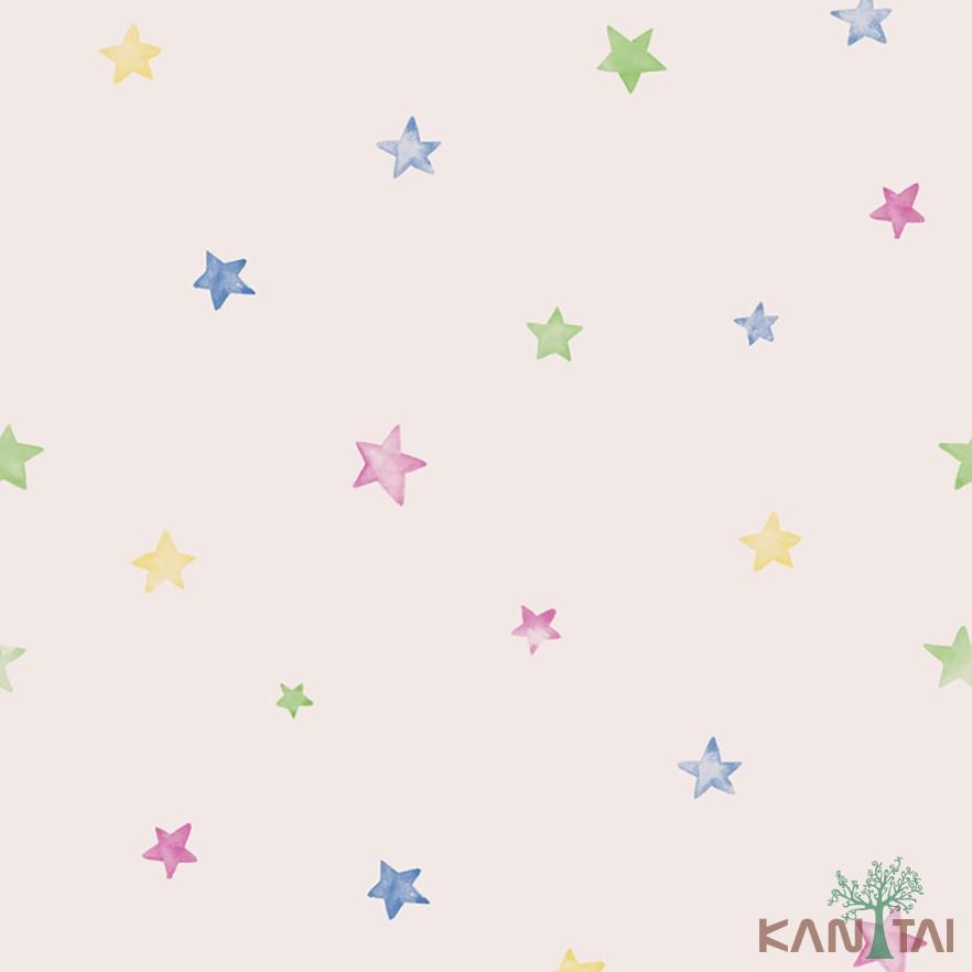 Papel de Parede Infantil Vinílico Kan Tai Coleção Hello Kids Estrelas Rosê, Azul, Verde