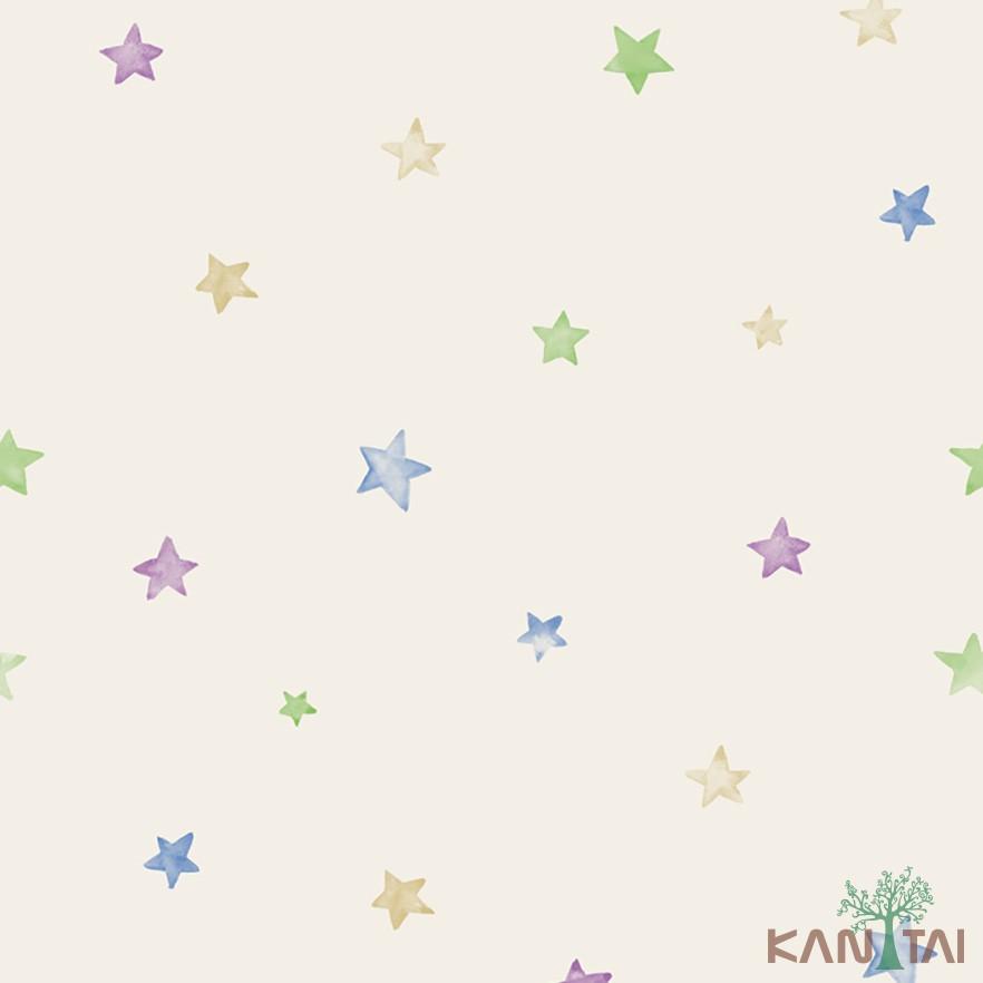 Papel de Parede Infantil Vinílico Kan Tai Coleção Hello Kids Estrelas Creme, Azul, Verde