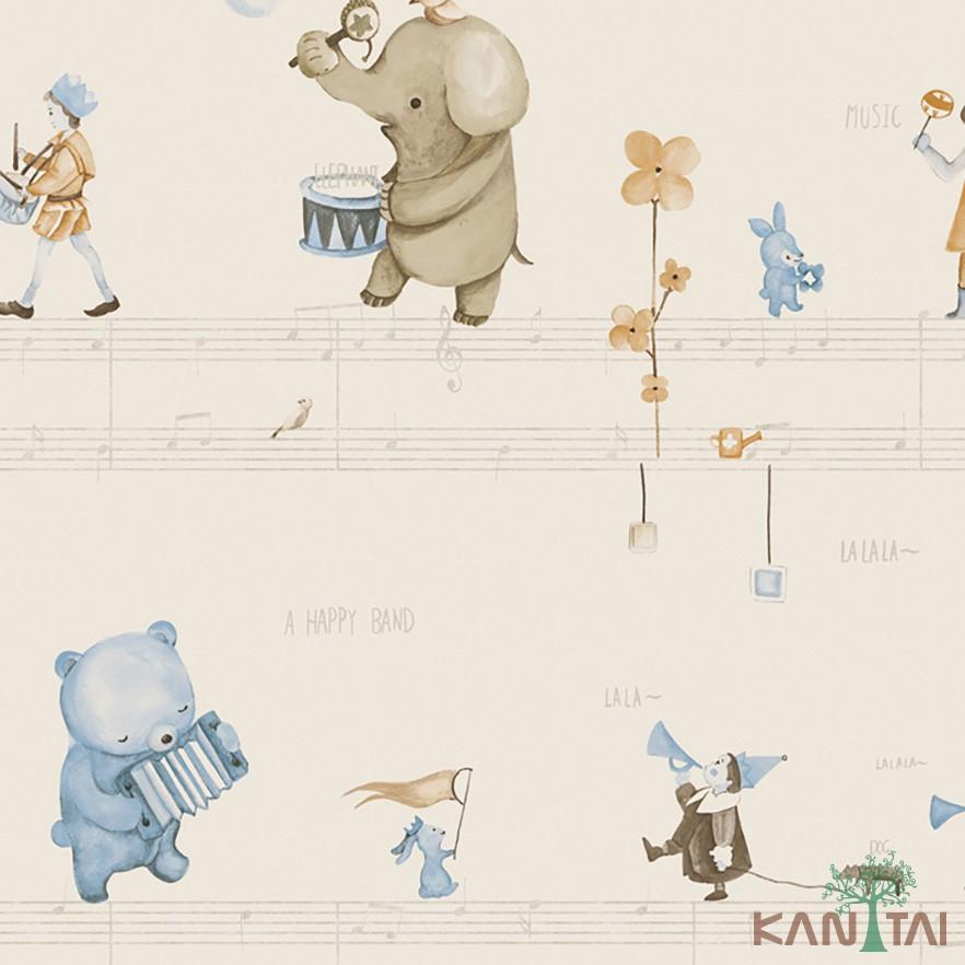 Papel de Parede Infantil Vinílico Kan Tai Coleção Hello Kids Floresta encantada Creme, Marrom, Azul