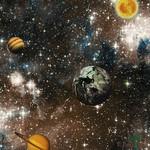 Papel de Parede Infantil Vinílico Kan Tai Coleção Hello Kids Espaço Sideral Planetas  Marrom, Azul, Branco