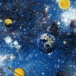 Papel de Parede Infantil Vinílico Kan Tai Coleção Hello Kids Espaço Sideral Planetas Azul, Branco,Amarelo