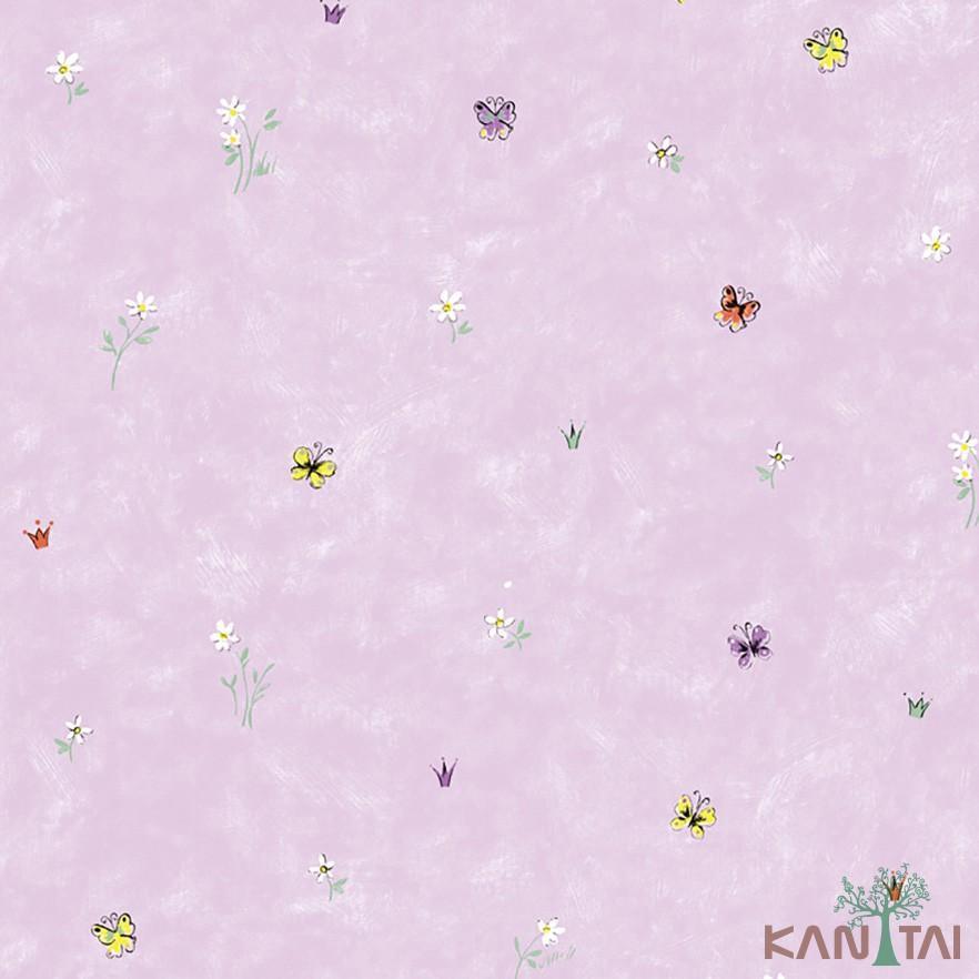 Papel de Parede Infantil Vinílico Kan Tai Coleção Hello Kids Floral Borboletas Rosa, Amarelo, Verde