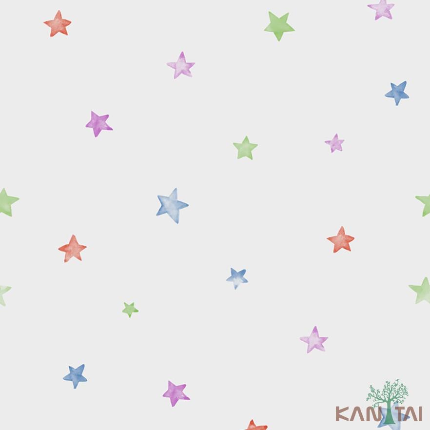 Papel de Parede Infantil Vinílico Kan Tai Coleção Hello Kids Estrelas Off white, Verde, Vermelho