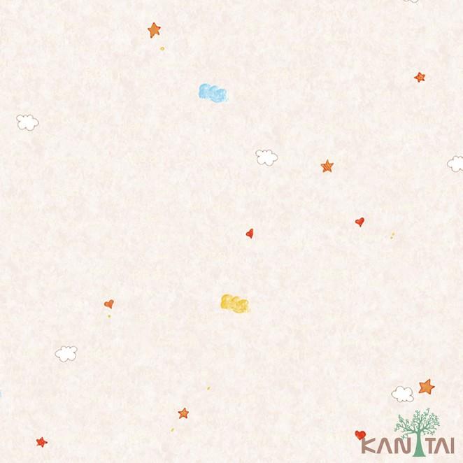 Papel de Parede Infantil Vinílico Kan Tai Coleção Hello Kids Nuvem Bege claro, Branco, Vermelho
