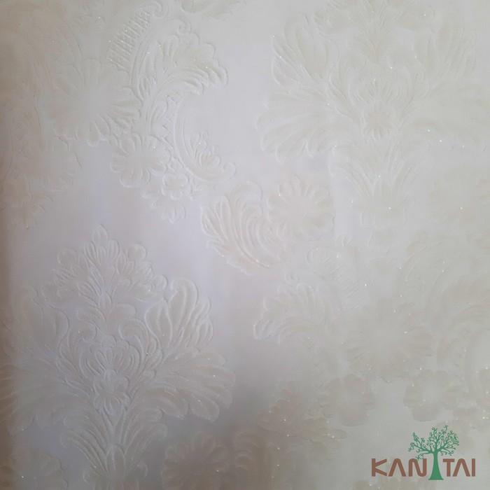 Papel de Parede Kan Tai TNT Coleção Grace 3 Adamascado Off White, Branco, Leve brilho
