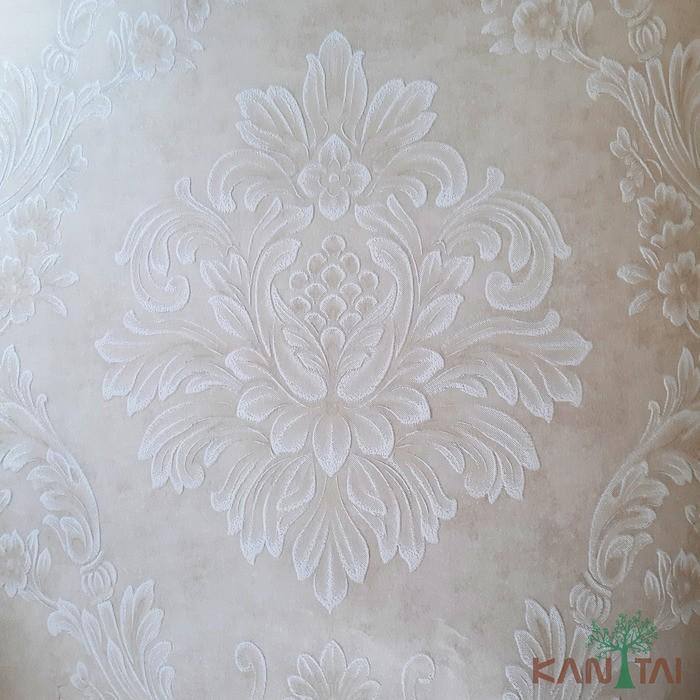 Papel de Parede Kan Tai TNT Coleção Grace 3 Adamascado Bege, Branco, Leve brilho