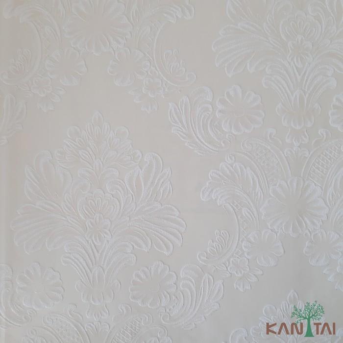 Papel de Parede Kan Tai TNT Coleção Grace 3 Adamascado Creme, Branco, Leve brilho