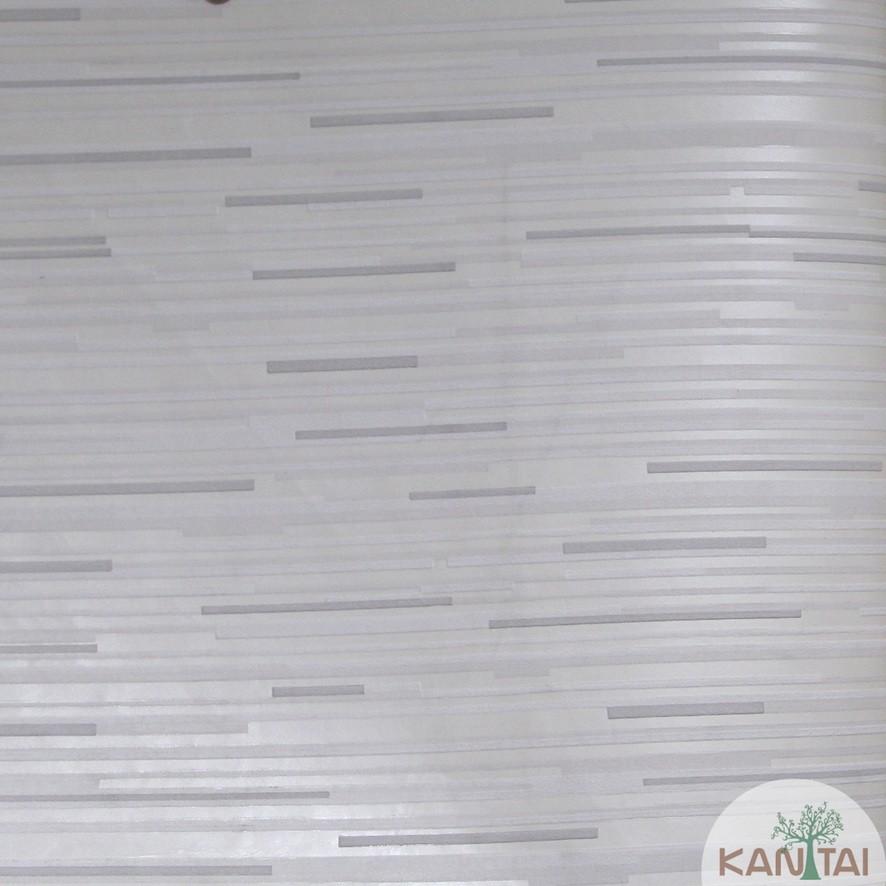 Papel de Parede Kan Tai TNT Coleção Grace 3 Geométrico Abstrato Creme, Cinza, Branco