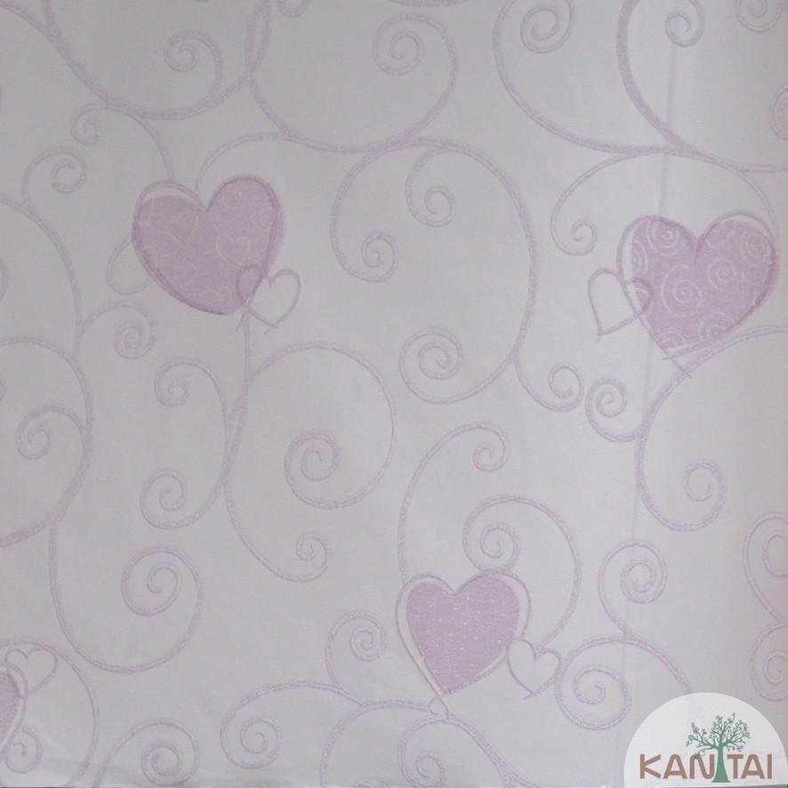 Papel de Parede Kan Tai TNT Coleção Grace 3 Infantil Corações Rosê, Rosa