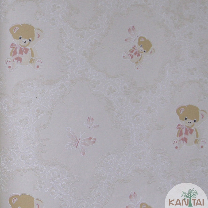 Papel de Parede Kan Tai TNT Coleção Grace 3 Infantil Ursos, Borboletas Creme, Rosa