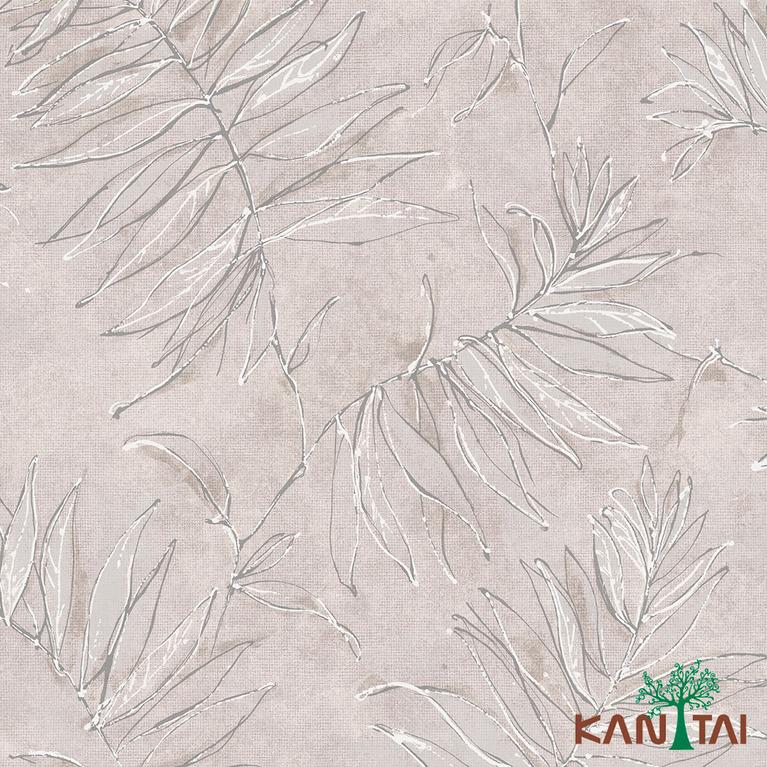 Papel de Parede Kan Tai TNT Coleção Milan Folhagem Cinza, Prata, Branco