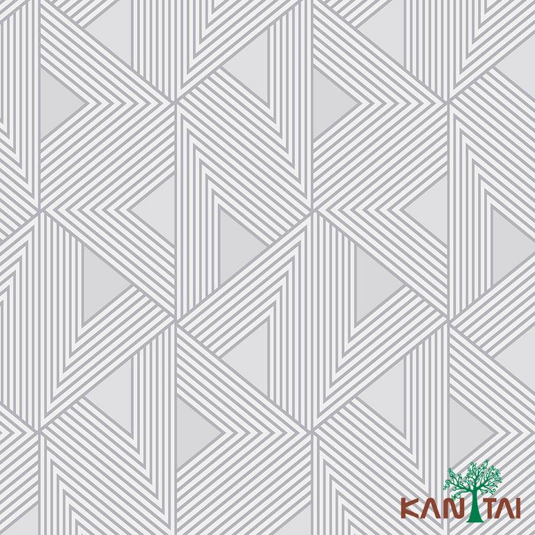 Papel de Parede Kan Tai TNT Coleção Milan Geométrico Cinza, Branco, Bege