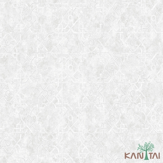 Papel de Parede Kan Tai TNT Coleção Vision Abstrato Off White, Prata, Brilho