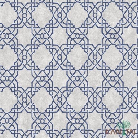 Papel de Parede Kan Tai TNT Coleção Vision Arabesco Off white, Prata, Azul