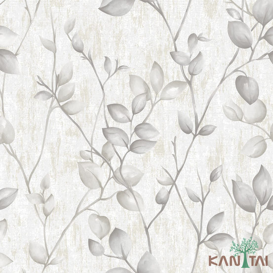 Papel de Parede Kan Tai TNT Coleção Vision Folhagem Branco, Cinza, Prata, Brilho