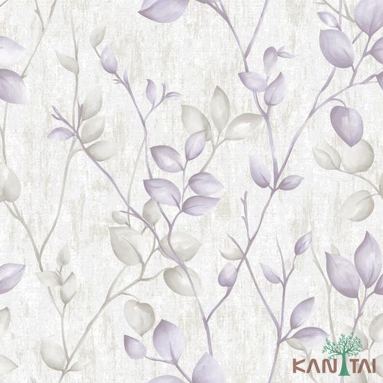 Papel de Parede Kan Tai TNT Coleção Vision Folhagem Branco, Lilás, Cinza