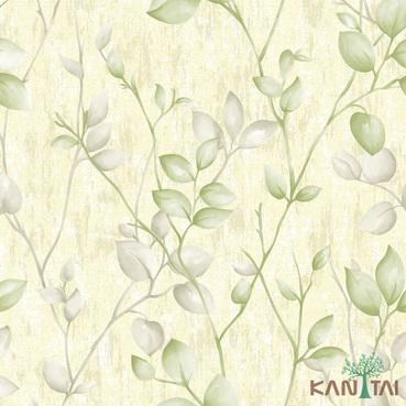 Papel de Parede Kan Tai TNT Coleção Vision Folhagem Creme, Verde, Cinza