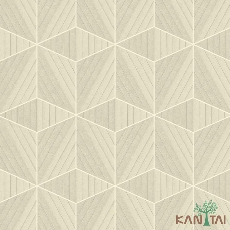 Papel de Parede Kan Tai TNT Coleção Vision Geométrico Bege, Dourado, Branco
