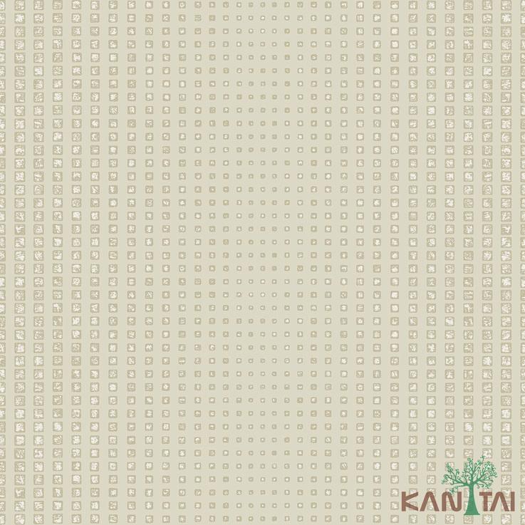 Papel de Parede Kan Tai TNT Coleção Vision Geométrico Branco gelo, Bege