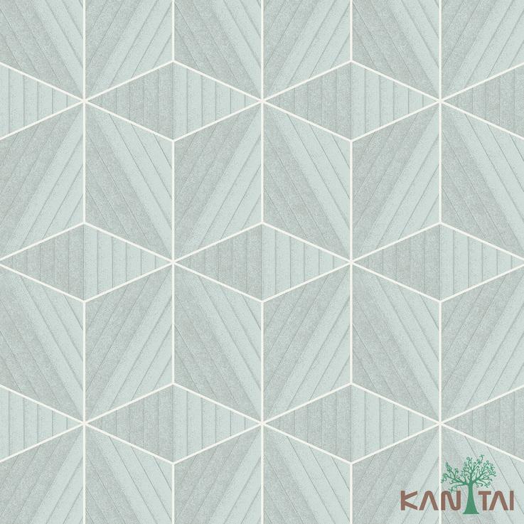 Papel de Parede Kan Tai TNT Coleção Vision Geométrico Cinza cimento, Branco, Prata