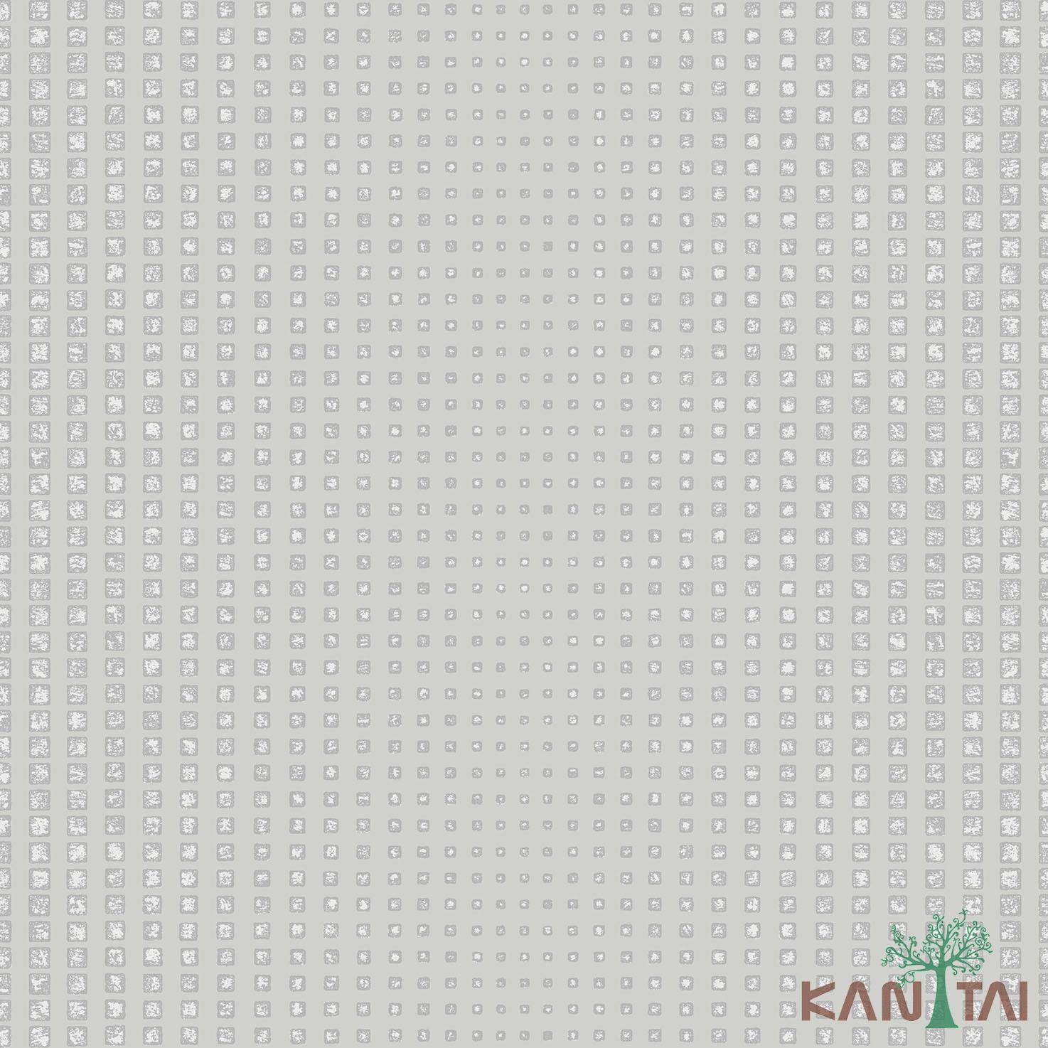 Papel de Parede Kan Tai TNT Coleção Vision Geométrico Cinza claro, Prata, Brilho