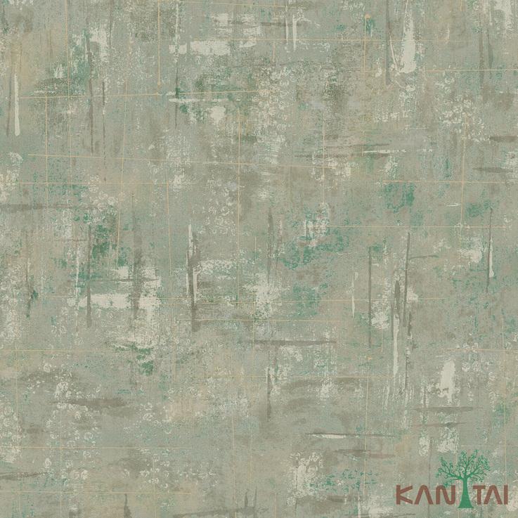 Papel de Parede Kan Tai TNT Coleção Vision Textura Cimento Tons verde, Dourado, Estonado