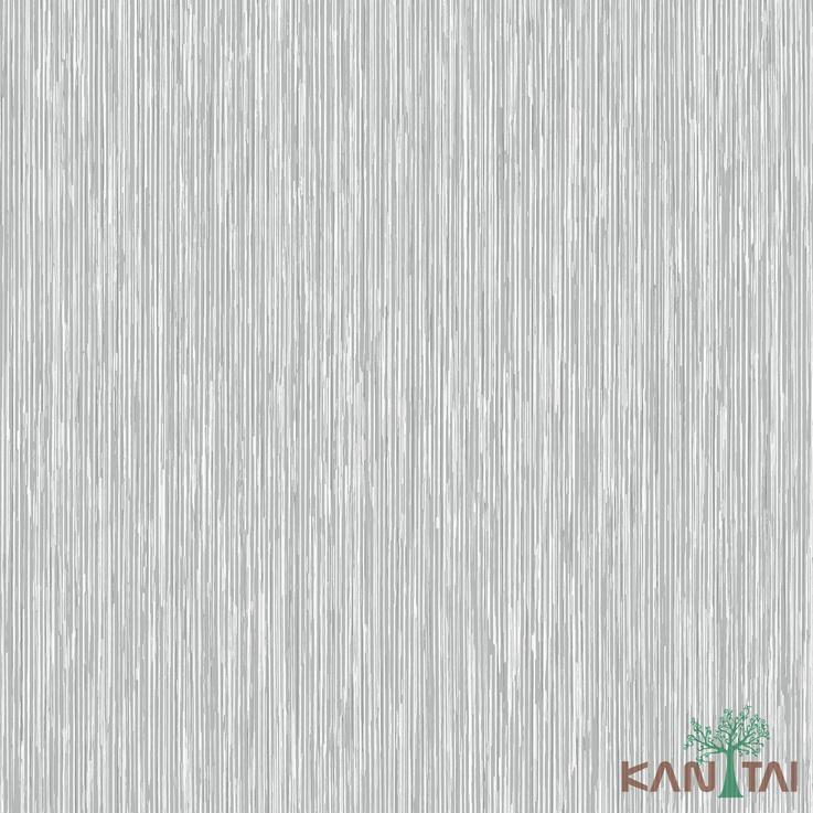 Papel de Parede Kan Tai TNT Coleção Vision Textura Cinza, Branco, Prata, Detalhes riscas verticais finas