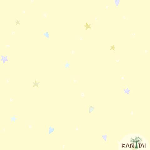 Papel de Parede Kan Tai Vinilico Infantil Coleção YoYo Alfabeto, Estrelas, Corações Amarelo, Lilás, Rosa
