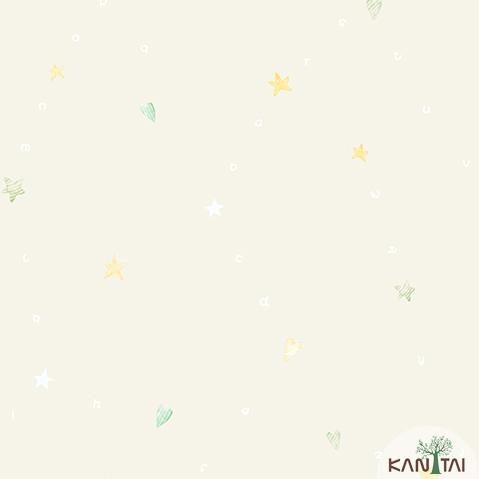 Papel de Parede Kan Tai Vinilico Infantil Coleção YoYo Alfabeto, Estrelas, Corações Marfim, Branco, Verde