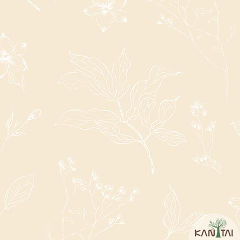 Papel de Parede Kan Tai Vinilico Infantil Coleção YoYo Folhagem Amarelo, Branco