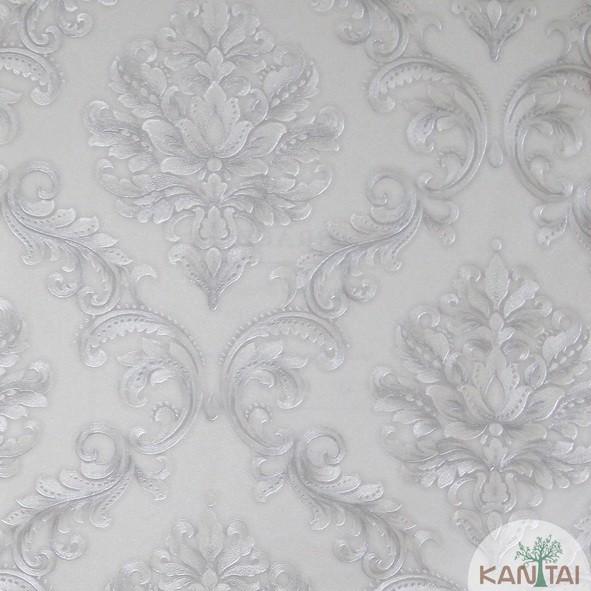 Papel de Parede Kan Tai Vinílico Coleção Grace 3 Adamascado Off White, Prata, Detalhes brilho
