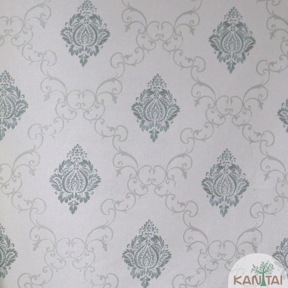 Papel de Parede Kan Tai Vinílico Coleção Grace 3 Adamascado Off White, Verde