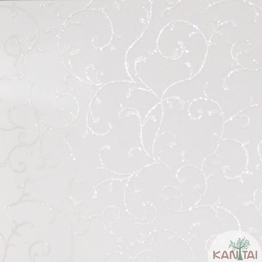 Papel de Parede Kan Tai Vinílico Coleção Grace 3 Arabesco Bege claro, Detalhes, Estonado, Brilho