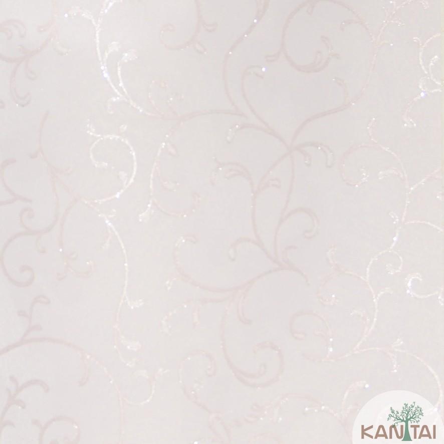 Papel de Parede Kan Tai Vinílico Coleção Grace 3 Arabesco Rosê, Detalhes, Estonado, Brilho