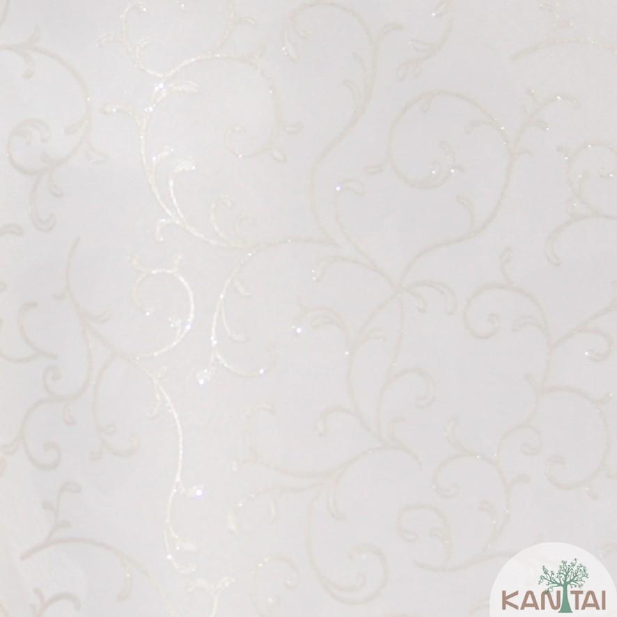 Papel de Parede Kan Tai Vinílico Coleção Grace 3 Arabesco Bege, Detalhes, Estonado, Brilho