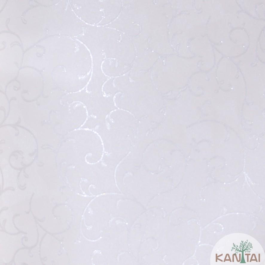 Papel de Parede Kan Tai Vinílico Coleção Grace 3 Arabesco Cinza claro, Detalhes, Estonado, Brilho