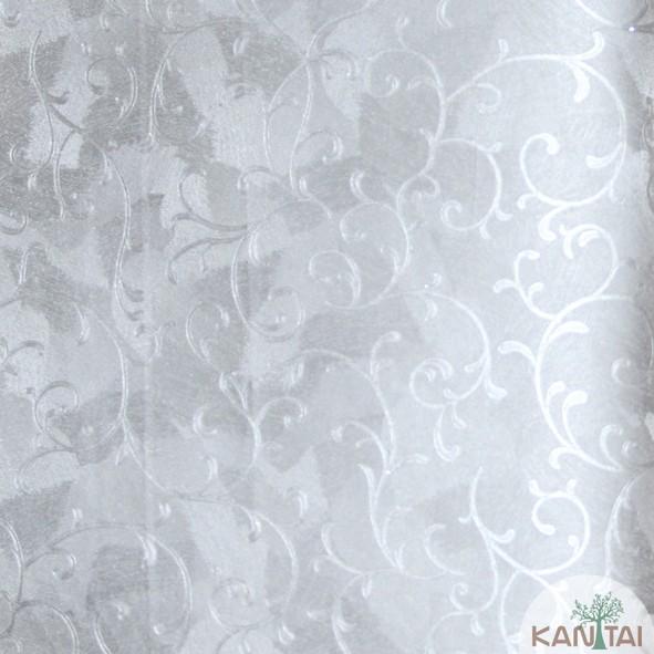 Papel de Parede Kan Tai Vinílico Coleção Grace 3 Arabesco Prata, Detalhes, Estonado, Brilho