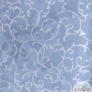 Papel de Parede Kan Tai Vinílico Coleção Grace 3 Arabesco Azul índigo, Detalhes, Estonado, Brilho