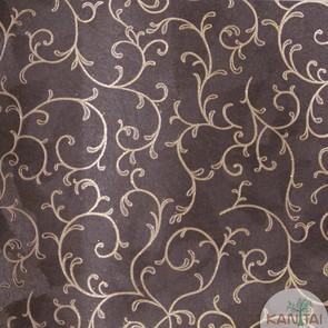 Papel de Parede Kan Tai Vinílico Coleção Grace 3 Arabesco Marrom escuro, Dourado, Detalhes, Estonado, Brilho