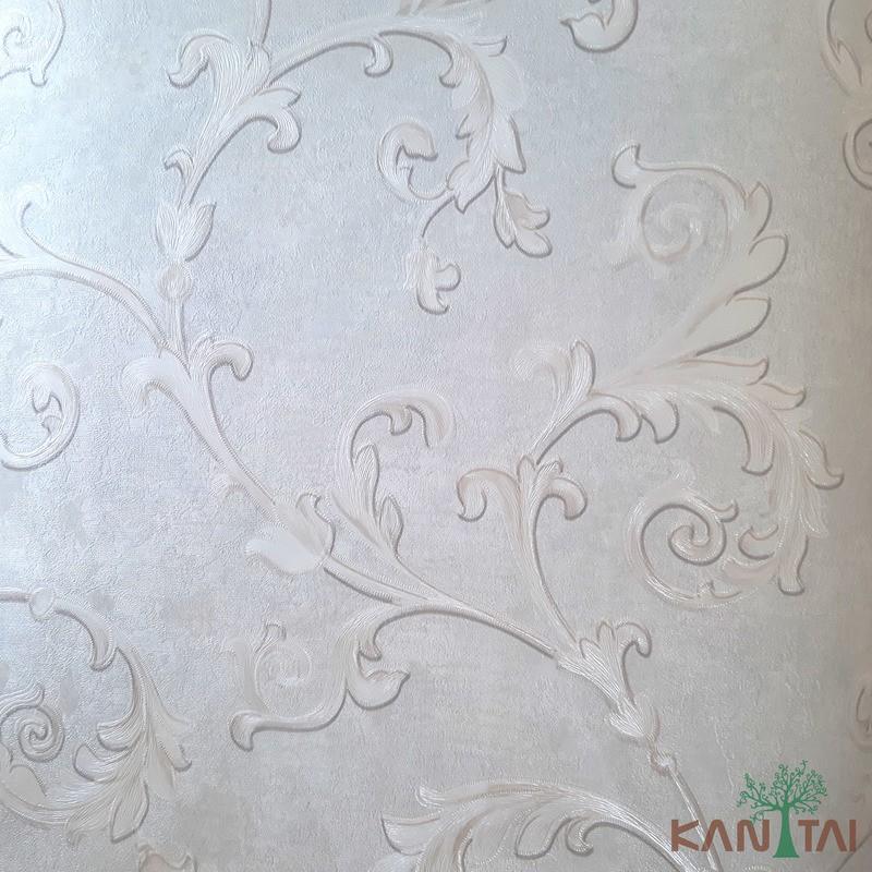 Papel de Parede Kan Tai Vinílico Coleção Grace 3 Arabesco  Cinza, Detalhes Dourado