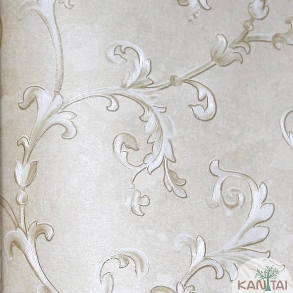 Papel de Parede Kan Tai Vinílico Coleção Grace 3 Arabesco Bege, Dourado, Detalhes