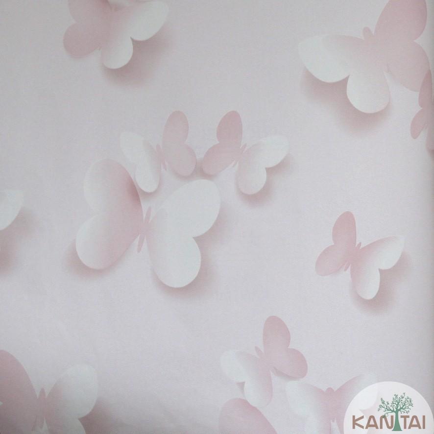 Papel de Parede Kan Tai Vinílico Coleção Grace 3 Infantil  Borboletas Rosa, Branco, estonado