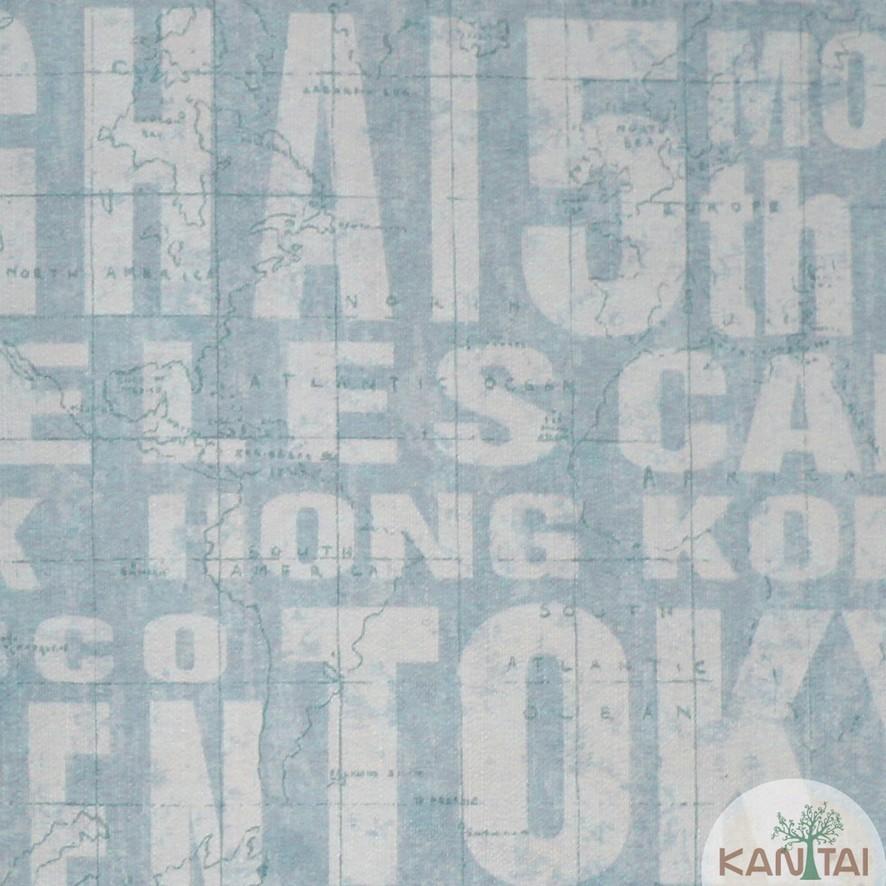 Papel de Parede Kan Tai Vinílico Coleção Grace 3 Tipografia Cidades Azul claro, Branco