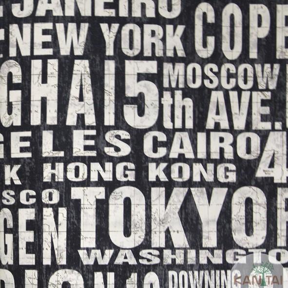 Papel de Parede Kan Tai Vinílico Coleção Grace 3 Tipografia Cidades Preto, Branco